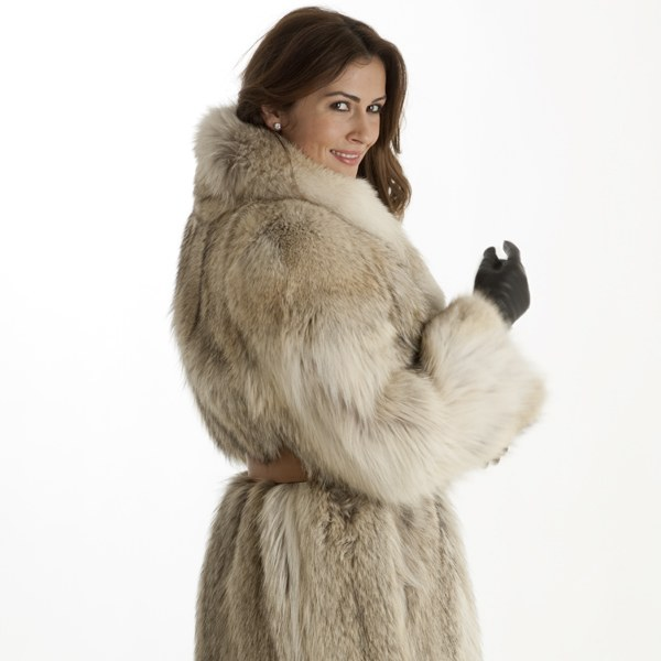 Model in a coyote fur coat