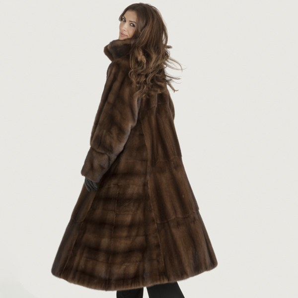 Model in a striped mink fur coat