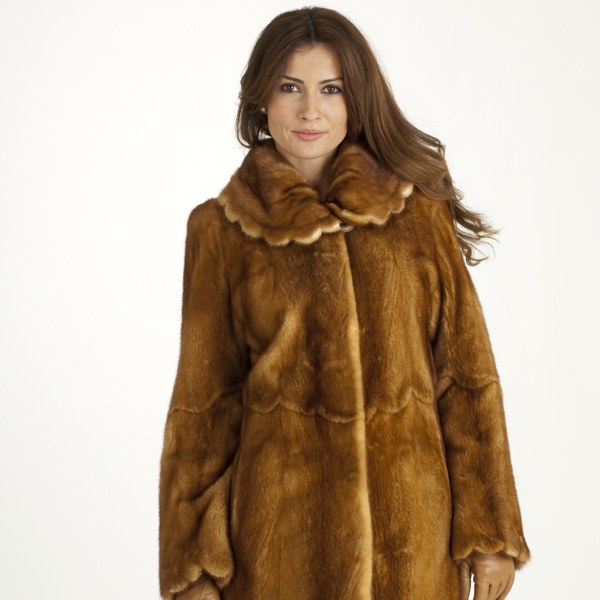 Model in a wild mink fur coat
