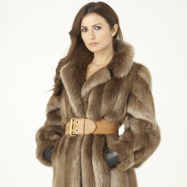 Model in a long-haired beaver fur coat